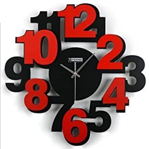Pixnor large 3d digital numbers modern wall clock wooden for Large 3d numbers