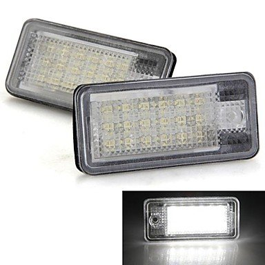 Commoon Ships In 24 Hours A Pair Car License Plate Lamps Bulbs White 18 Smd Led Lights 12V For Audi A3 A4 8E Rs4 A6 Rs6