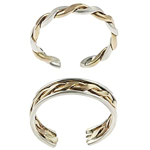 Sterling Silver Two-toned Two-piece Toe Ring Set