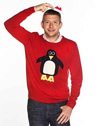 Woolly Babs Men's Christmas Jumper Pablo Penguin Roundneck:XS-Red