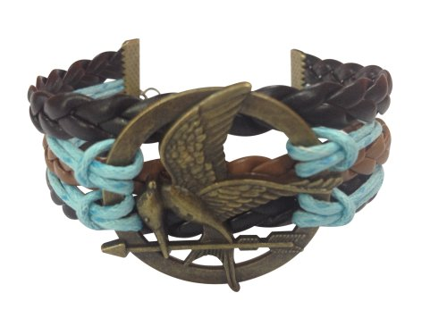 BlueTop(TM) Fashion The New Movie Bronze Hunger Games Mockingjay Bracelet Leather Knit Weave Rope