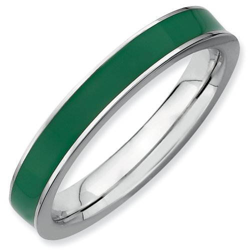 Sterling Silver Stackable Expressions Green Enameled 3.25mm Ring (Size 7)