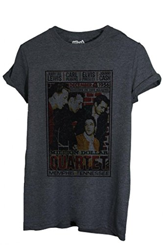 T-Shirt MILLION DOLLAR QUARTET MEMPHIS ELVIS - MUSIC by iMage Dress Your Style - Donna-L-ANTRACITE MELANGE