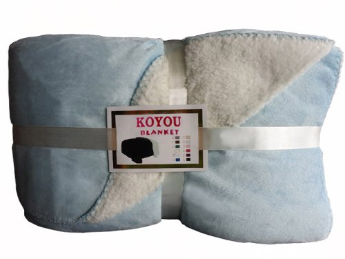 Koyou Super Soft Light Blue Borrego Blanket Throw Queen Or Full Size Bed