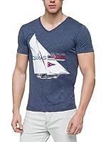 Nebulus Camiseta Manga Corta Retro (Azul Marino)
