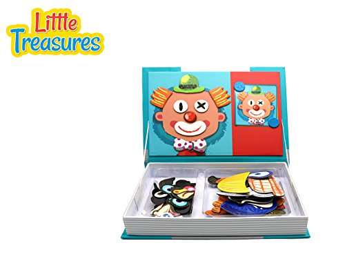 [Little Treasures 79-Pcs Magnetic Dress-Up Set facial features puzzle Toy Book for Kids Ages 3 Plus] (Book Day Dress Up)