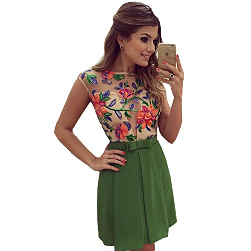 ROPALIA Women Floral Mini Skater Dress See-Through Party Evening Cocktail Dress Green Small