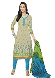 RK Fashion Womens Cotton Un-Stitched Salwar Suit Dupatta Material ( Rajguru-Ganpati-5014-Beige-Free Size )