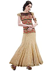 Inddus Exclusive Women Gold & Brown Partywear Evening Dress