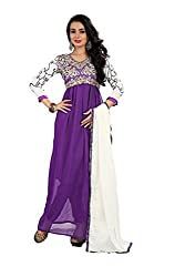 Shree Hans Creation Purple Semi-stitch Anarkali Dress Material