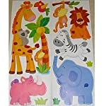 JUNGLE ANIMALS Wall Stickers for Boys & Girls Bedroom, Childrens Playroom or Babies Nursery, (Kids Stickarounds, Monkey Safari Fun with Elephant, Rhino, Lion & Giraffe