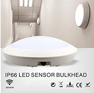 Claylight IP66 Water-proof Outdoor Indoor 15W LED Ceiling Bulkhead Light Motion Sensor Detector Round White 4000K(Natural White) by ClayLight