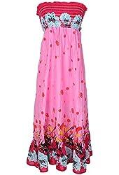 G2 Chic Women's Strapless Smocked Printed Summer Dress