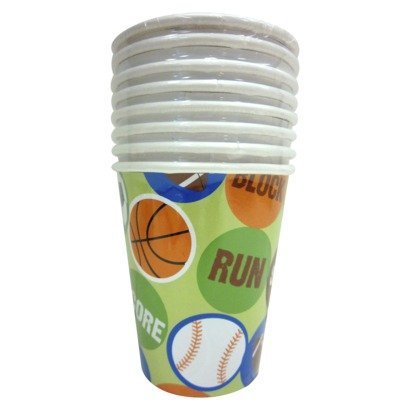 Sports Party 9 oz. Cups Baseball, Basketball, Football, & Soccer (8 Count)