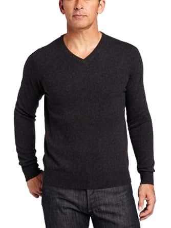 Williams Cashmere Men's 100% Cashmere V-Neck Sweater, Charcoal, Small