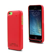 buy Iphone 5 5C 5S Charger Case Muze Portable External Slim Back Up Battery Charger Cover 2200Mah Rechargeable Battery Case Charging With 4 Led Lights And Built-In Viewing Stand Holder Retail Package (Hot Pink/1Pcs)