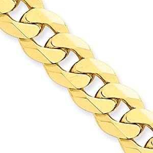 10mm, 14 Karat Yellow Gold, Beveled Curb Chain - 20 inch