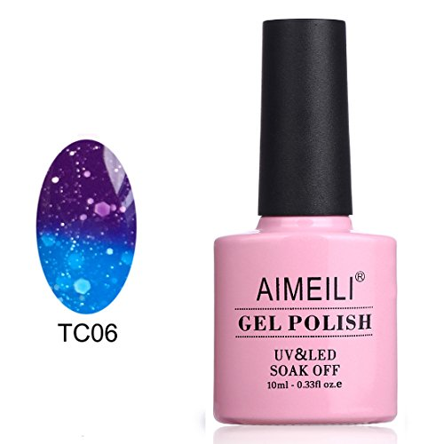 AIMEILI Soak Off UV LED Temperature Color Changing Chameleon Gel Nail Polish - Glitter Purple to Glitter Blue Full Shimmer/ Diamond (TC06) 10ml (Color Changing Nail Polish Uv compare prices)
