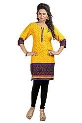 Janasya Women's Yellow Printed Kurtis