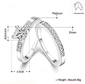 Women Wedding Bands Gold Plated Princess Solitaire Cubic Zirconia Engagement Ring White Size 8 by Aienid from Aienid