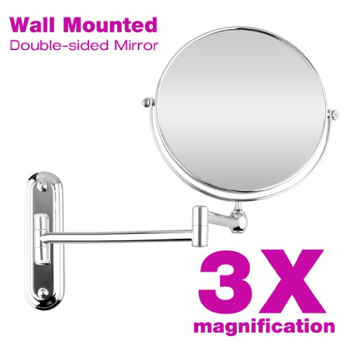 8 Inch Wall Mounted Extending Folding Double Side Swivel 3X Magnification Cosmetic Make Up Shaving Bathroom Mirror, Chrome