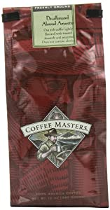 Coffee Masters Flavored Coffee, Almond Amaretto Decaffeinated, Ground, 12-Ounce Bags (Pack of 4)
