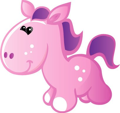 Children's Wall Decals - Cute Baby Pink, Purple Cartoon Pony - 12 inch Removable Graphics (4 same)