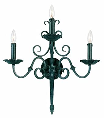 World Imports 5363-99 Auburndale Collection Three Light Wall Sconce, Wrought Iron