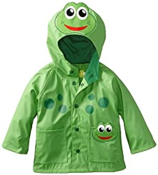 Western Chief Little Boys\' Frog Rain Coat, Green, 3T