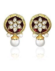 Studded Earrings By Zaveri Pearls-Zpfk329