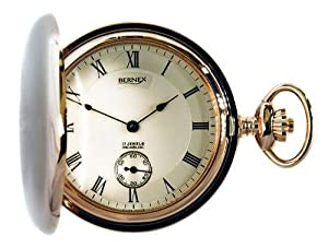 Bernex Swiss Made Mechanical Rose Gold Plate Full Hunter Pocket Watch