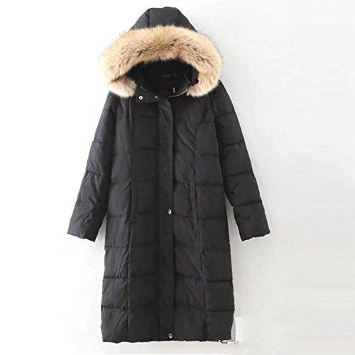 YUYU-Hiver-Madame-long-Slim-Gardez-laine-chaude-col-Veste-noire