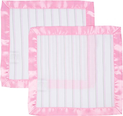Miracle Blanket MiracleWare Muslin Security Blanket, Pink and Gray Stripes, 2 Pack