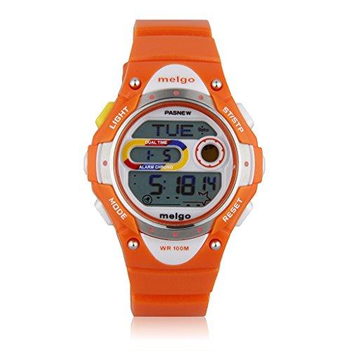 Pasnew kids children's digital sports waterproof watch Sunday on display LED digital boy / girl watch entrance celebrate a birthday (orange)