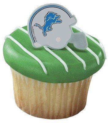 NFL Detroit Lions Football Helmet Cupcake Rings - 24 pcs - 1