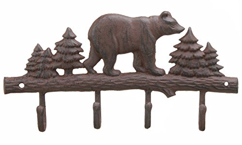 Cast Iron Bear Wall Key Rack Holder 4 Hooks Coat Hook Home