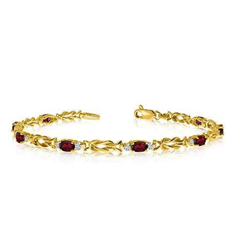 14K Yellow Gold Oval Garnet and Diamond Bracelet (7 Inch Length)