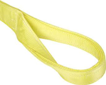 Mazzella EE1 Nylon Web Sling, Eye-and-Eye, Yellow, 1 Ply, Twist Eyes, Vertical Load Capacity
