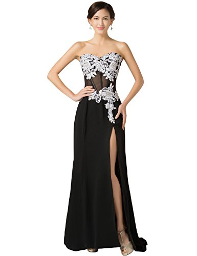 Strapless Lace Appliques Homecoming Prom Dresses High Split Size 4 (Split Front Prom Dress compare prices)