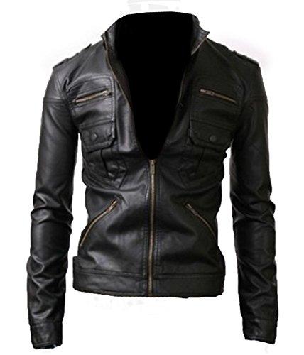 Biker da uomo Slim Fit nero tigre in pelle sintetica jacket-available in tutte le taglie Coffee Brown XL