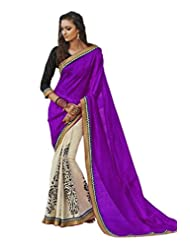 Status Purple & Off White Color Printed Saree On Bhagalpuri Silk Fabric.