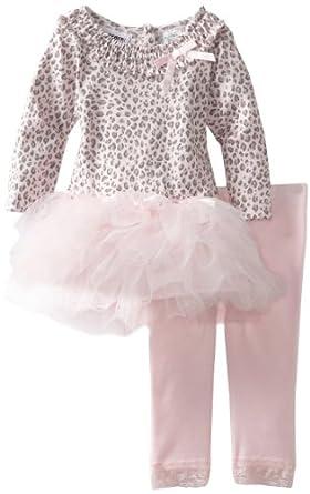Blueberi Boulevard Baby-girls Infant Leopard Print Knit Set With Mesh Tutu Skirt, Pink, 12 Months