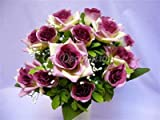 Artificial Silk Flower Dew Drop Rose Gypso Bush (Plum) from GT Decorations