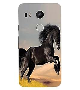 ColourCraft Lovely Horse Design Back Case Cover for LG GOOGLE NEXUS 5X