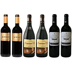 Spanish Red Wine Hamper, Rioja Comportillo, Faustino VII and Campo de Borja, Borsao. Case of 6 Bottles