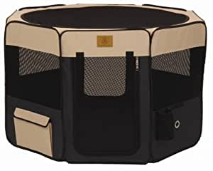 Precision Pet Soft Side Play Yard 46 in. x 46 in. x 28 in. Large Navy Tan