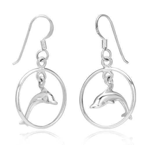 925 Sterling Silver Dolphin Porpoise Hoop Jumping Dangle Hook Earrings