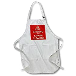 3dRose apr_171979_2 Keep Knitting and Ignore Cleaning. Red. Knitting Lovers-Medium Length Apron with Pouch Pockets, 22 by 24-Inch