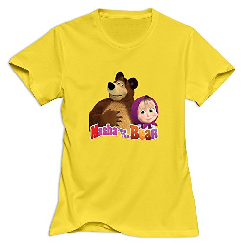 mashas-bear-fun-o-neck-yellow-t-shirts-for-womens-size-l