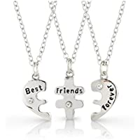 Three part Best Friends Forever silver plated Heart Necklaces includes 3 necklaces and 3 Velvet Gift Pouches by Ananth Jewels